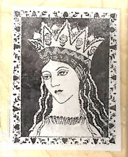 Regal Queen crown face rubber stamp leaves hearts roses long haired beauty New