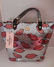 NWT Juicy Couture Sequin Lip Mini Sport Silver/Red/Black Purse Shoulder Bag Tote