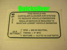 1970 Plymouth Duster 340 4bbl Early Emissions Decal NEW MoPar