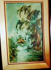 "Vintage""Kihoa""Vietnamese Art Oil/Canvas Painting wood Frame 1950's labeled 12x19"
