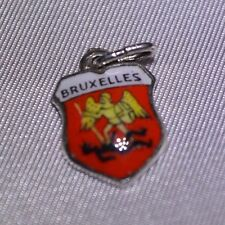 Bruxelles Capital of Belgium  Crest Travel Shield Silver Enamel Bracelet Charm