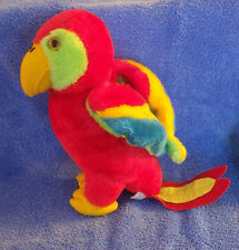 "Red Parrot Bird R. Dakin 1980 Vintage 10"" Toy Stuffed Animal Plush"