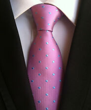 New Classic Polka Dot Pink Blue JACQUARD WOVEN 100% Silk Men's Tie Necktie