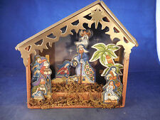 LIGHTWEIGHT WOOD AND CARDBOARD NATIVITY, IN STABLE