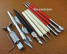 9pcs Leather Craft Carving Cutter Embossing Stylus Tracing Tool Set Kit NEW
