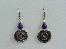 GORGEOUS DARK SILVER PLATED COINS DEEP PURPLE WOOD EARRINGS TRIBAL