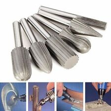 6pcs 6mm Shank Tungsten Steel Rotary File Cutter Engraving Grinding Bit For Rota