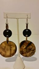 Gorgeous 100% buffalo horn custom extra chunky and long green and black earrings