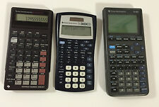 3 Texas Instruments Ti-82  - Ti-30X IIS  - BA II Plus