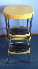 Vintage Cosco Step Stool Yellow Retro Metal Pull Out Steps Solid Condition 24 In