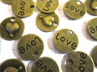 10 or 20 bronze Love charms  jewellery scrapbook embellishment