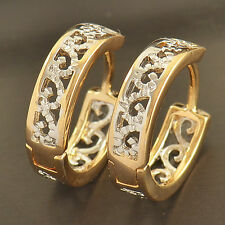 Dainty 9K Gold Filled 2-Tone Openwork Womens Hoop Earrings,Z1854