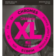 D'Addario ECB81M Chrome Flattened Stainless Steel Medium Bass Strings 45-100