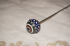 Antique One of a Kind Hat Pin Solid Sterling w/ Enamel Ball Rubies & Sapphires