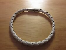 Tateossian Slim Scoubidou Bracelet White Leather Sterling Silver Clasp
