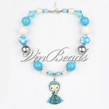 Aquamarine Frozen Anna Inspired Chunky Necklace Bubble Gumball Princess Necklace