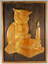 Wise Old Owl Mexican Folk Art Carved Wood Den Reading Study Library Wall Decor