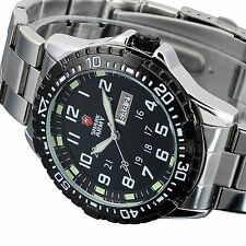 SHARK ARMY Mens Stainless Steel Date Day Black Fashion Sport Quartz Wrist Watch