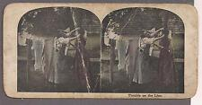 2 women pulling each other's hair c. 1910 funny stereo photo