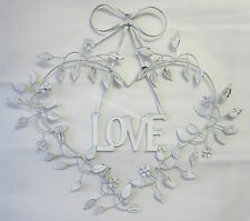 Rustic French Provincial Country Heart With Love & Bow Metal Sign Wall Ornament