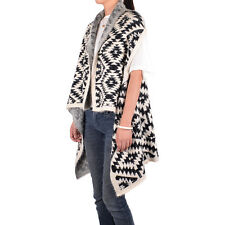 Women's Navajo Native Print Sleeveless Winter Knit Vest Cardigan Open Front