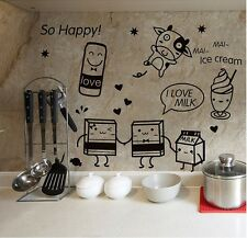 Cute Cartoon Milk Icecream Drink Food Decal for Happy Kitchen Fridge Sticker