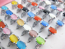 wholesale lots of 5pcs colourful natural cat eye gemstone stone silver P rings