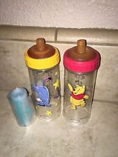 Vintage Pooh & Eeyore Drop In Bottle Lot Playtex Infant Flat Top Nipples Liners
