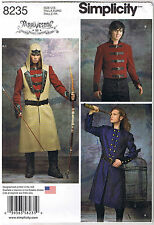 Men Coat Jacket Vest Hood Victorian Steampunk Cosplay Sewing Pattern 46 48 50 52