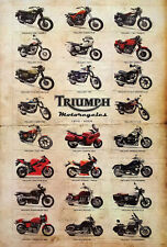 """TRIUMPH MOTORCYCLES 1970-2009 POSTER 23x34"""" BRITISH MOTORBIKES 23 Classic Models"""