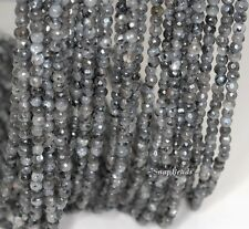 4MM LARVAKITE GEMSTONE GREY BLACK FACETED ROUND 4MM  LOOSE BEADS 15.5""