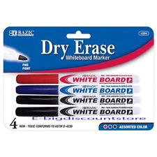 4/Pk Dry Erase White Board Markers Fine Point Tip Assorted Colors red blue Black