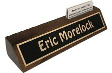 """Personalized Desk Name Plate 10"""" Walnut  Holds Business Cards - Engraved Free"""