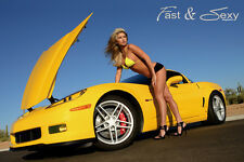 2006 Corvette Z06 Fast & Sexy Poster hot models Chevy C6 muscle cars bikini girl