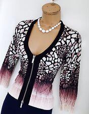 KAREN MILLEN Multicoloured/Zipped Front/Knit Stretch Cardigan Size 2/ Uk 8-10