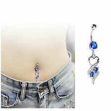 Blue Heart Dangle CZ Rhinestone Gem Belly Navel Ring Body Jewelry