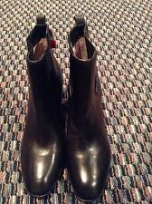 NEW POUR LA VICTOIRE BLACK LEATHER STACKED HEEL BOOTIE SIZE 10