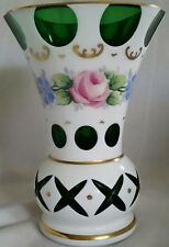 Bohemian Cased White Cut to Emerald Green Vase Floral Overlay Hand Painted  Gold