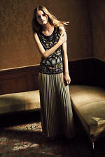 NEW ANTHROPOLOGIE HD IN PARIS GOLD MICA MAXI SKIRT SZ M MEDIUM