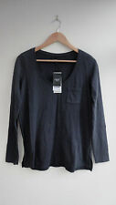 BNWT (£16)  NEXT Grey Low V-Neck LS Casual Top  Size 6