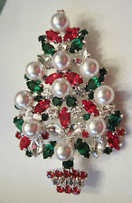 **  SPECTACULAR  PEARL & RHINESTONE CHRISTMAS TREE BROOCH PIN