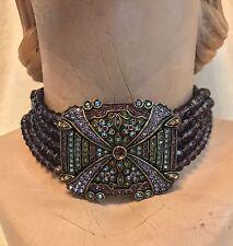 Heidi Daus 5-Strand Square PURPLE Bead Choker Necklace - SWAROVSKI Crystal