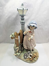 Lladro Figurine #5286 Fall Clean-Up, Girl & Cat Raking Leaves, with box