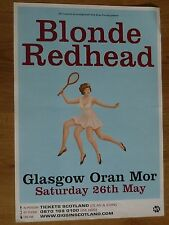 Blonde Redhead Glasgow 2007 concert tour gig poster