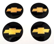 NEW CHEVROLET Black & Gold Wheel Center Cap Sticker Decal 56MM Full Set 2.3 inch