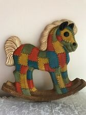 "Home Interior Patchwork Rocking Horse New In Box 12""x13"" Primitive Child's Decor"