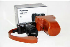 Leather Camera Case Bag For Panasonic Lumix DMC-GF3 GF5 GF6  14-42mm