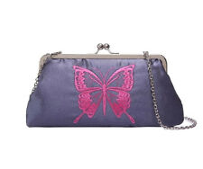 New Chic Women's Vintage Embroidered Butterfly Clutch Bag (Navy) 25x13x5cm