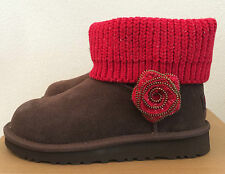UGG Kids Girls Size 1 Brown and Red Mini Southern Belle Boots 1003215K K / CHO