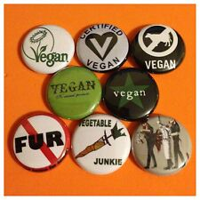 "VEGAN 1"" buttons badges NO MEAT FUR PROTEST VEGETARIAN"